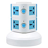 ‏‪Universal Vertical Multi Socket 220V Electrical Tower Extension Outlet with USB Ports 3M Cord and UK-Plug Power Strip Multi Charging Station (2 Layers Multi Plug With USB Port, Blue)‬‏