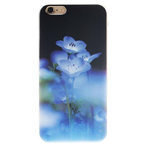 XiaoXiMi iPhone 5/5S Hülle Gel Gummi Silikon Schutzhülle für iPhone 5/5S Soft TPU Silicone Case Cover Weiche Flexible Schale Schlanke Glatte Tasche Ultra Dünne Leichte Etui Kratzfeste Stoßfeste Handyh Blaue Blume
