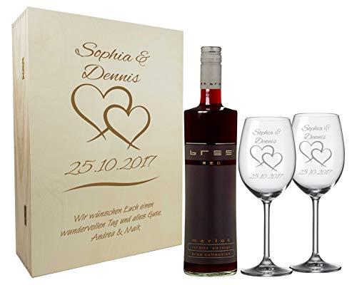 laser-diele Graviertes Geschenkset zur Hochzeit aus 2 Weingläsern, Weinflasche und Einer Holzkiste,...
