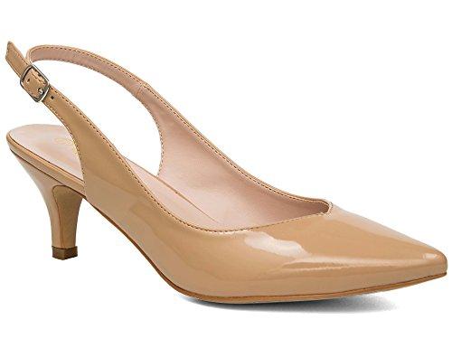 MaxMuxun Zapatos de Tacón Bajo con Tira Trasera Diseño Modo Elegante para Boda Nude V Mujer Talla...