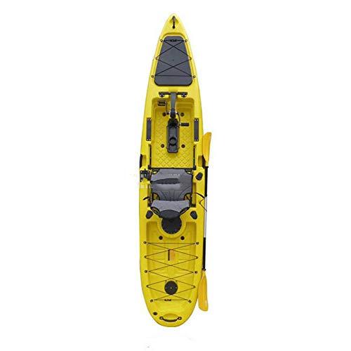 ANAN 3.96 Metros de Largo Solo Barco de Pesca Profesional Canoa Kayak Marino Barco plástico Duro Pedal de Deriva Barco,6