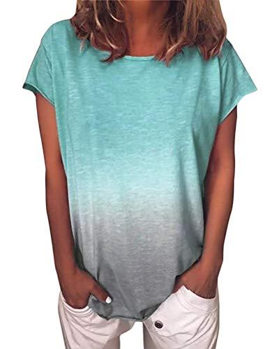 ORANDESIGNE Damen Kurzarm T-Shirt Casual Patchwork Sommer Lose Shirt Asymmetrisch Oversize Oberteile Hellgrün DE 50 Dot Print Legging
