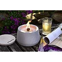 Beske-Betonfeuer mit 'Dauerdocht' | Durchmesser 14cm mit Bauch | Wiederbefüllbare Gartenfackel | 'Unendliche' Brenndauer durch umweltfreundliches Recycling von Kerzenwachs