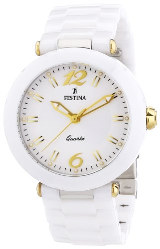 Festina Women's Quartz Watch with White Dial Analogue Display and White Ceramic Bracelet F16640/3