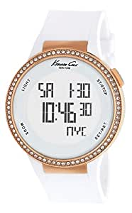 Kenneth Cole Women's Digital Watch with White Dial Digital Display and White Silicone Strap KC2697