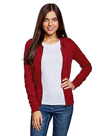 oodji Ultra Women's Hooded Sweatshirt with Pockets, Red, UK 16