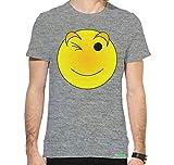 ECOSOUL Emoji Mens Cotton Half Sleeve Printed Round Neck T Shirt Grey S