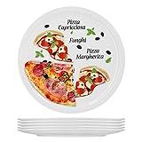 6er Set Pizzateller Margherita groß - 30,5cm Porzellan Teller mit schönem Motiv - für Pizza / Pasta, den 'großen Hunger' oder zum Anrichten geeignet