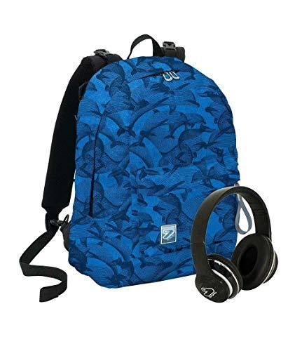 Zaino scuola seven blu reversibile con cuffie wireless ps 30102 crowdy