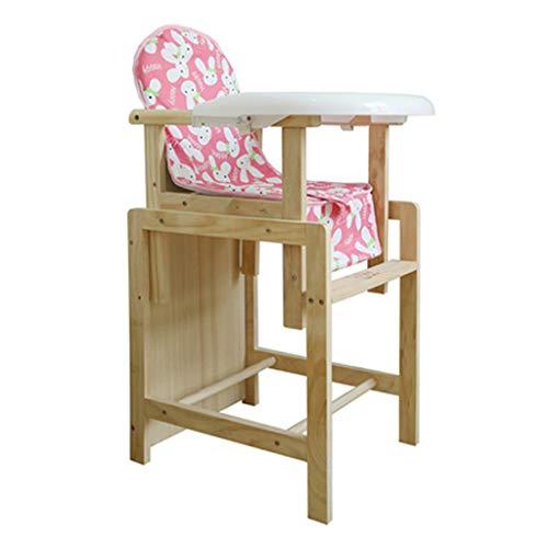 Bois Pliable Chaise Haute bébé Ergonomique Chaise de Salle à Manger pour bébé Chaise de Repas Multi-Fonctions pour bébé avec Ceinture et Coussin, Poids de roulement 30kg