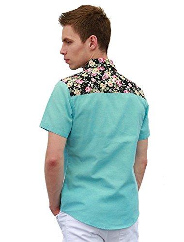 Allegra K Herren Kurzärmelig Blumenmotiven Hemd Sky Blue