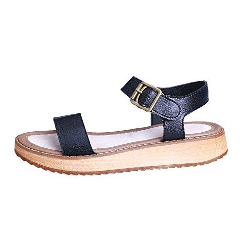 Smilun Femme Sandales Orteil Lanières Boucle en métal Flip Flop Thongs Sandale Cuir souple Noir