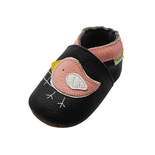 Sayoyo Rosa Vogel Krabbelschuhe Leder Mokassins Weiche Sohle Babyschuhe(12-18 Monate, Schwarz) -
