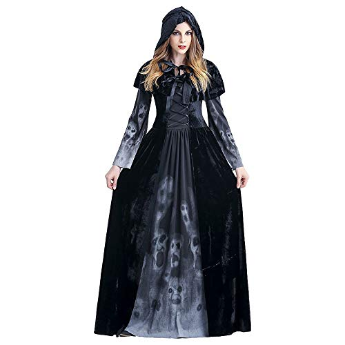 Allerheiligen Party Kostüm - Halloween Damen Kleid Kostüm - Anziehende Sensenmann Kleidung mit Umhang Kapuze für Allerheiligen Party Maskerade Cosplay Karneval Rollenspiel Bühnenstück Göttin Vampir für Erwachsene (XL)