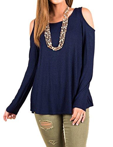 Junshan Femme Top Manches Longues T-shirt à épaule à Epaule Dénudé Blouse Chemise Top Tee Shirt Hauts Mode Chic Top Tee Shirt Chemise Bleu foncé