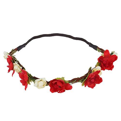 Bandeau-SODIAL(R) Fleur Boho Floral Bandeau Festival Guirlande Mariage Bandeau Nuptiale( rouge)