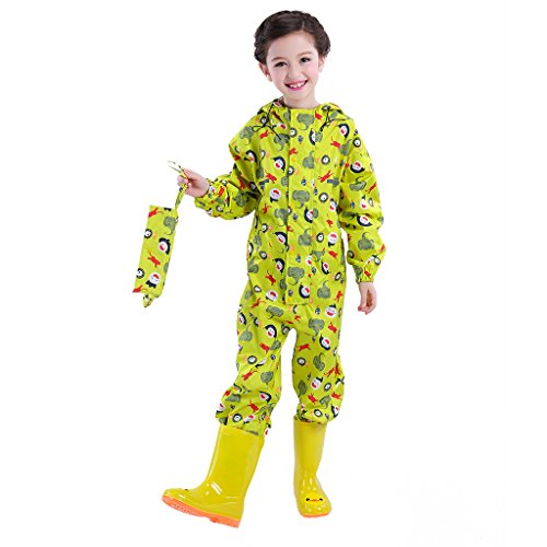Kids Raincoat, Boys Girls All-in-One Rainsuit Coverall Children Waterproof Jumpsuit Rainwear
