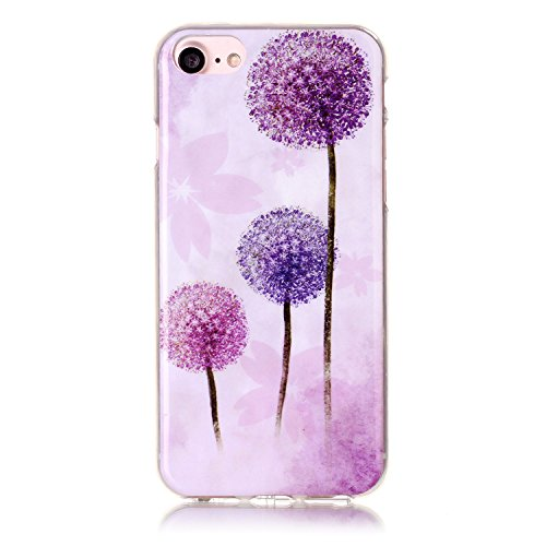 iPhone 7 Hülle,iPhone 7 Case, Cozy Hut Kreativ Design 3D Transparent TPU Hard Case Hülle Diamond Sequins Hülle Tasche Handyhülle Glitter Glitzer Sparkle Hart Plastik HardCase Crystal Clear Rückseite H Lila Löwenzahn