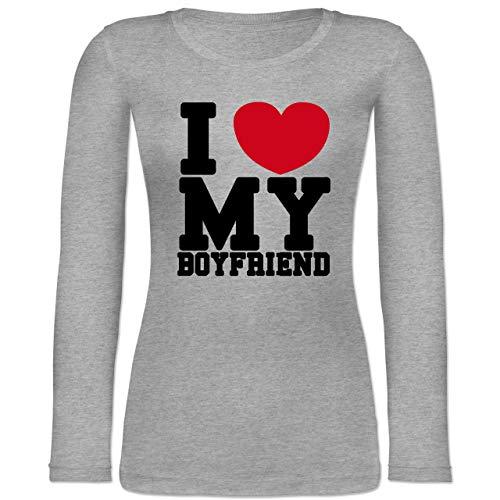 Dude Love Kostüm - Shirtracer Valentinstag - I Love My Boyfriend - S - Grau meliert - BCTW071 - Langarmshirt Damen