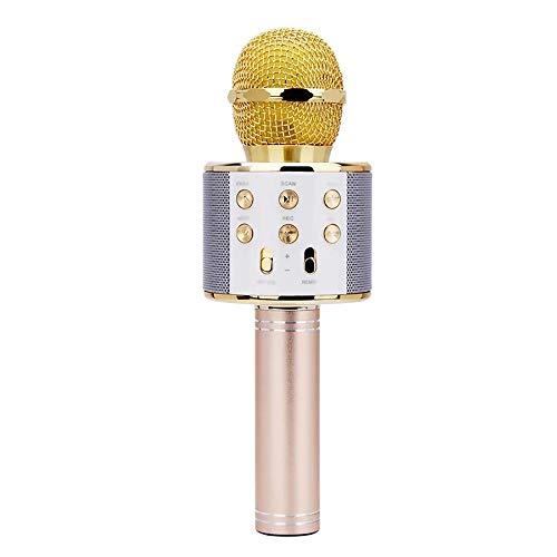 OOFAYHD Drahtlose Karaoke-Mikrofone, Bluetooth-Mikrofon, tragbarer Kondensator-Kondensatormikrofon-Lautsprecher für das Singen kompatibel mit Android IOS,Gold