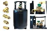 Gasflasche Wieder-befüllbar - Tankflasche 30 Liter mit 80% Füll-Stop Multiventil & Adapter + Direktbetankungsadapter für Wohnmobil, Caravan, Camper, Foodtruck/Imbisswagen, Boot oder Straßenbau