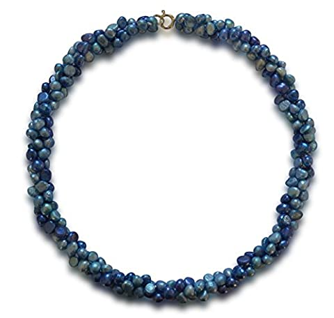 Cultured freshwater pearl necklace, blue & dark blue, potato, 5-6mm, 925 silver