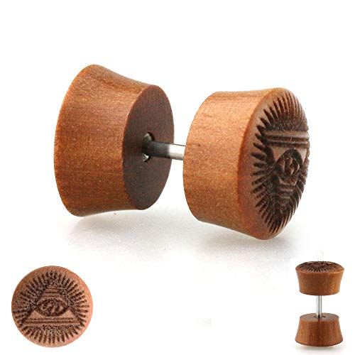 Treuheld Piercing Fake Plug - Holz - Braun - Pyramide - Auge [2.] - 10 mm