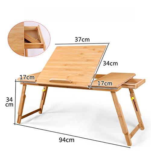Tragbare Bambus Notebook Stand Klapptisch Notebook Tisch Bett Notebook Tablett Bett Tisch mit Schublade (Farbe : B)