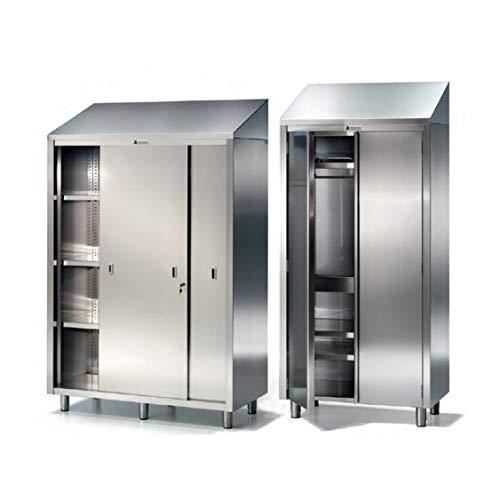 Disset Odiseo SGD23720 Küchenschrank aus Edelstahl mit Einlegeböden und Glastüren, 1000 mm x 600 mm x 1270 mm