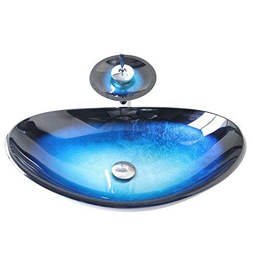 Homelava modernes Hartglas-Waschbecken mit Wasserfall-Wasserhahn, Abfluss und Montagering,