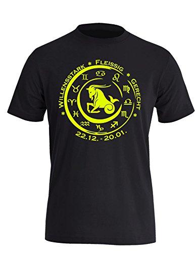 Sternzeichen Steinbock - Astrologie - Herren Rundhals T-Shirt Schwarz/Neongelb