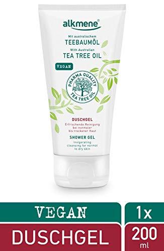 alkmene Teebaumöl Duschgel bei nomaler bis trockener Haut - veganes Shower Gel ohne Silikone, Parabene & Mineralöl - Pflegedusche für Frauen & Männer (1x 200 ml)