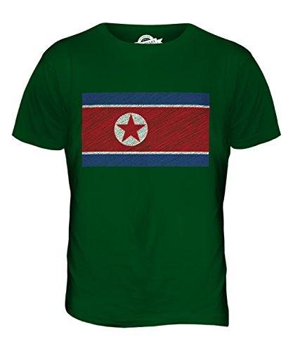 CandyMix Nord Korea Kritzelte Flagge Herren T Shirt Flaschengrün
