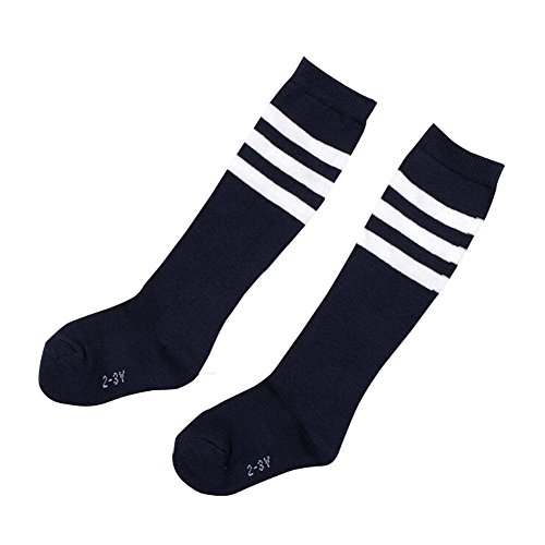 TININNA 4 Pairs Stripe Thicken Knee High Socks Cotton Football Socks for Kids Children Girls Boys 6-7 Years Old