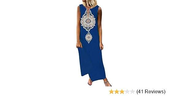 Italy Kleid Oversize Midi Sommer Strandkleid Ornamente Blumen Blau Weiß 44 46