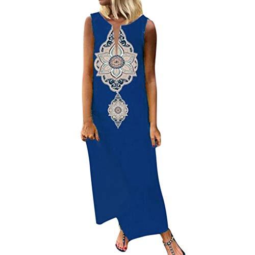 LOPILY Damenmode Sommerkleider Boho Strand Blumenmuste Lang Kleider A-Linie Seitenschlitz Maxikleid Partykleid Einfach Freizeit Frauenkleid (Blau, EU-42/CN-L)