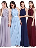 Ever Pretty Elegantes O-Ausschnitt Neckholder Rüschen justierbares Brautjungfern Kleid 38 Größe Navy Blau
