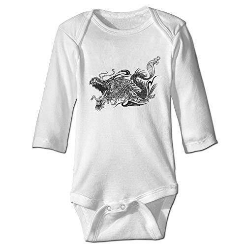 Sketch tattoo dragon doodle newborn gilr's boys kids baby romper camisetas de manga larga para bebés y niños pequeños(2t,blanco)