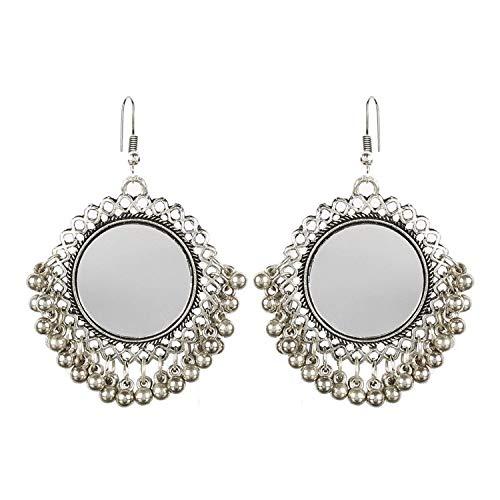 RC Afghani Designer Vintage Oxidised German Silver Tribal Hoop Dangler Hanging Mirror Chandbali Earring Antique Jewellery for Girls & Women