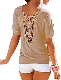 Smile YKK Blouse Sexy Femme Coton Chemisier Dentelle Col Rond T-shirt à Fleur Grande Taille