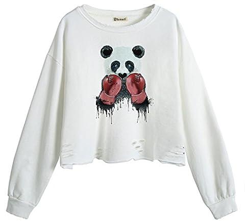 So'each Women's Panda Boxer Crop Tops Hole Pullover Midriff Sweatshirt