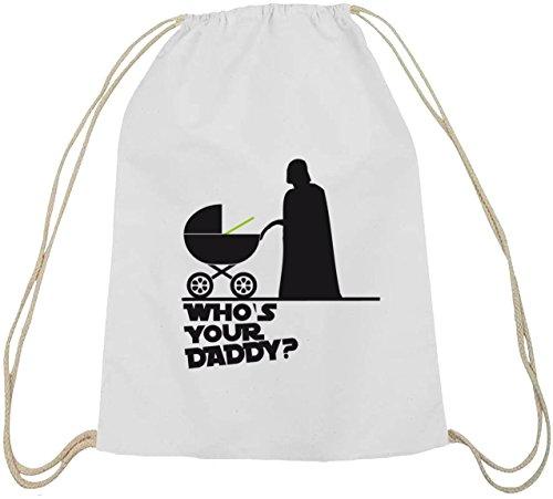 Shirtstreet24, WHO'S YOUR DADDY? Baumwoll natur Turnbeutel Rucksack Sport Beutel weiß natur