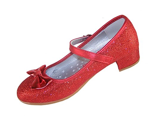 red Sparkly Low Heeled Party Shoes