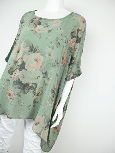 leichte und luftige oversize Bluse Kimono-Stil Blumen Muster Zipfel 42 44 46 48 L XL 2XL (8152) Khaki Grün