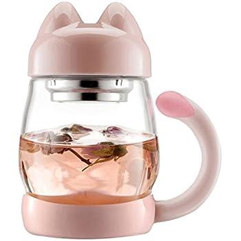 Bzy1 Adorable Mug Chat avec filtre infuseur à thé – (0,42 l), portable, résistant à la chaleur, tasse en verre avec filtre infuseur et couvercle – idéal pour une utilisation au bureau et à domicile rose