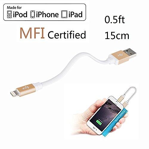 LP 0.16m USB Kurz Lightning Kabel [Apple MFI Zertifiziert] zum Laden und Synchronisieren -Powerbank Partner- für iPhone 7 / 6S / 6S Plus / 6 / 6 Plus / 5S / 5C / 5, iPad Air / Air 2 / mini / mini 2 / mini 3, iPad 4. Gen., iPod 5. Gen. und iPod Nano 7. Gen. (Gold) (20-fuß-handy-ladegerät)