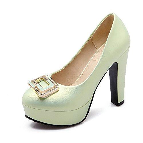 AllhqFashion Femme Matière Souple Tire Rond Couleur Unie Chaussures Légeres Vert