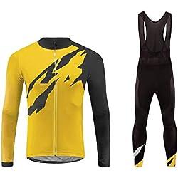 BurningBikewear Uglyfrog Conjunto Ciclismo Moda Hombre Invierno/Otoño 3D Cojín Pantalones Larga Thermo Lana Malliot de Ciclismo Ropa de Ciclista Bodies Anti-frío ZRMX03