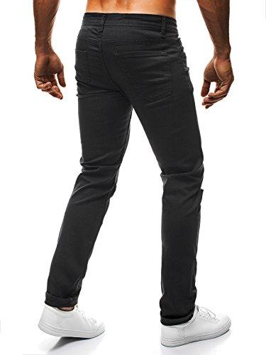 OZONEE Herren Hose Jeanshose Straight-Cut Freizeithose Clubwear Slim Fit MIX Schwarz_OTANTIK-330