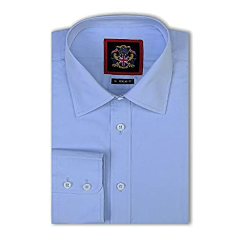 Janeo British Apparel Branded, Classic London Plains Shirt, Single Cuff Long Sleeve - Porcelain Blue, Size 16.5, Janeo Mens Shirts